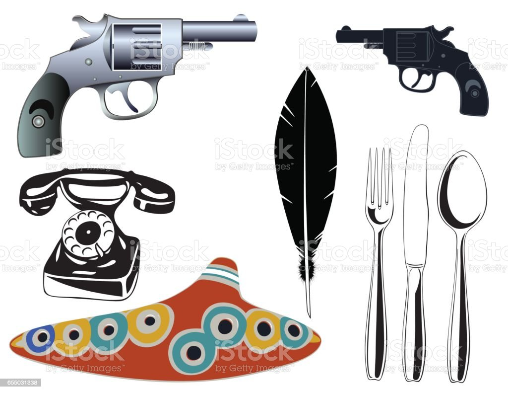 Various objects - design elements vector art illustration
