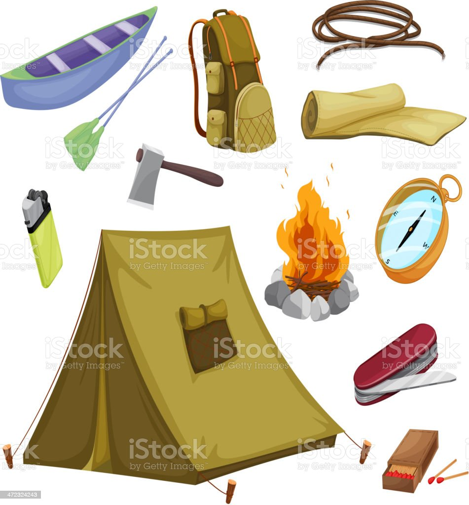 various objects of camping royalty-free stock vector art