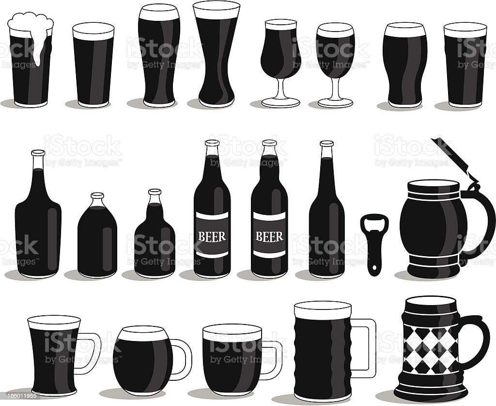 Various of alcoholics beer mug's and bottles. vector art illustration