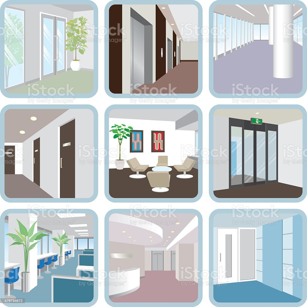 Various office vector art illustration