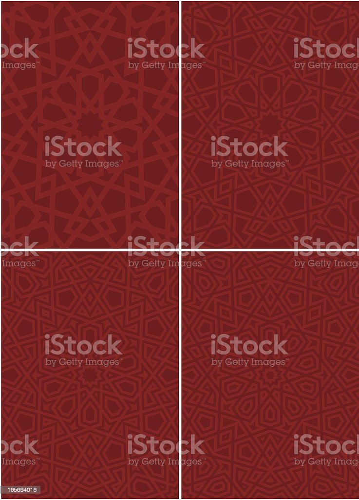 Various ornate Islamic patterns in red vector art illustration