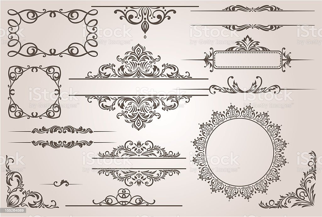 Various ornate picture borders in black on white background royalty-free stock vector art
