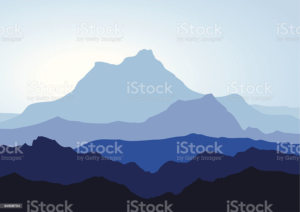 Various overlapping mountain peak silhouettes in blue royalty-free stock vector art