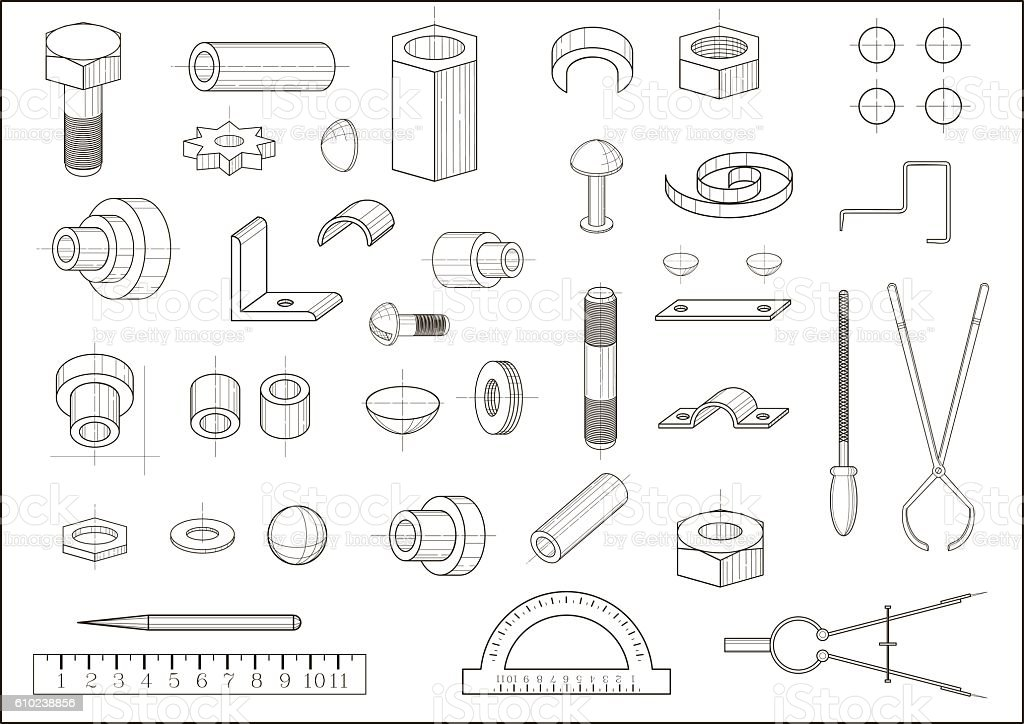 Various parts and tools vector art illustration
