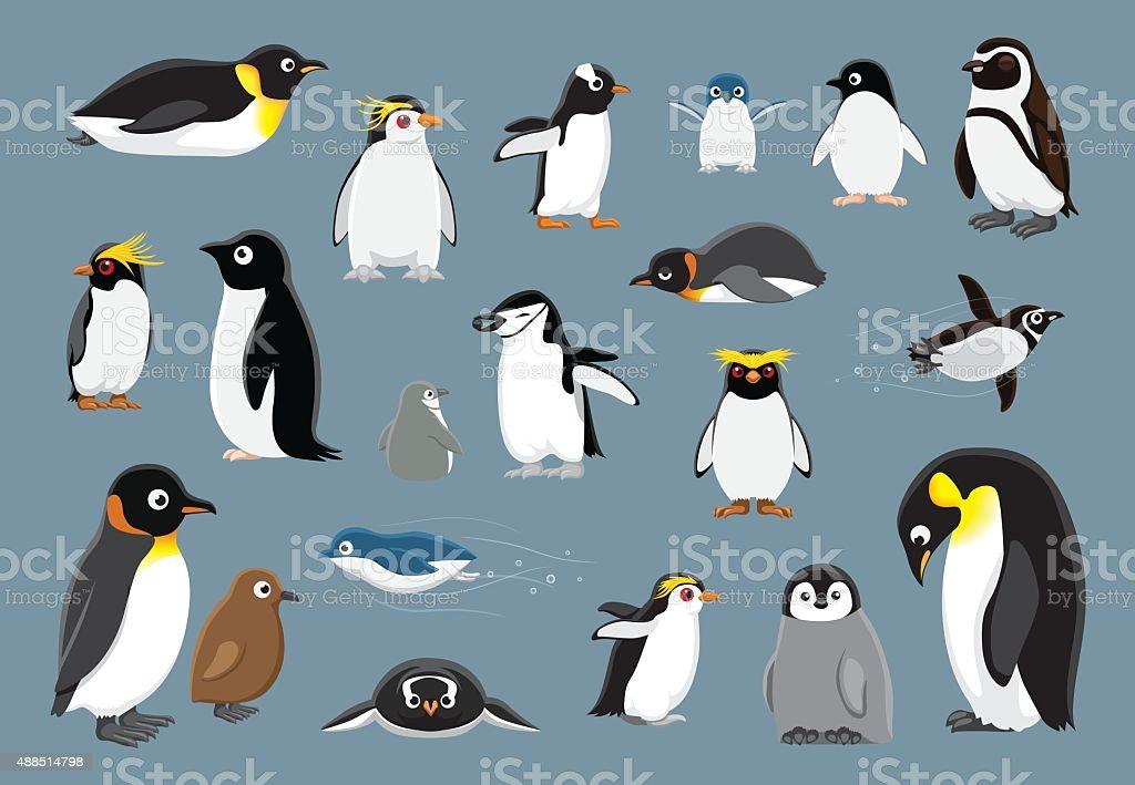 Various Penguins Cartoon Vector Illustration vector art illustration