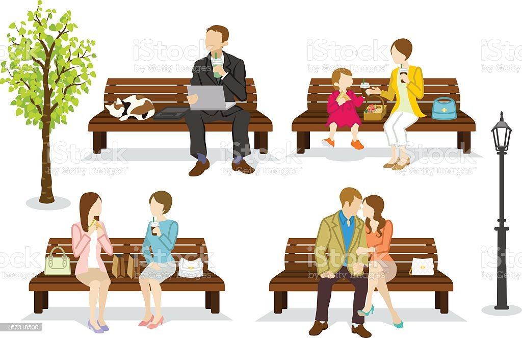 Various people are sitting on a Bench vector art illustration
