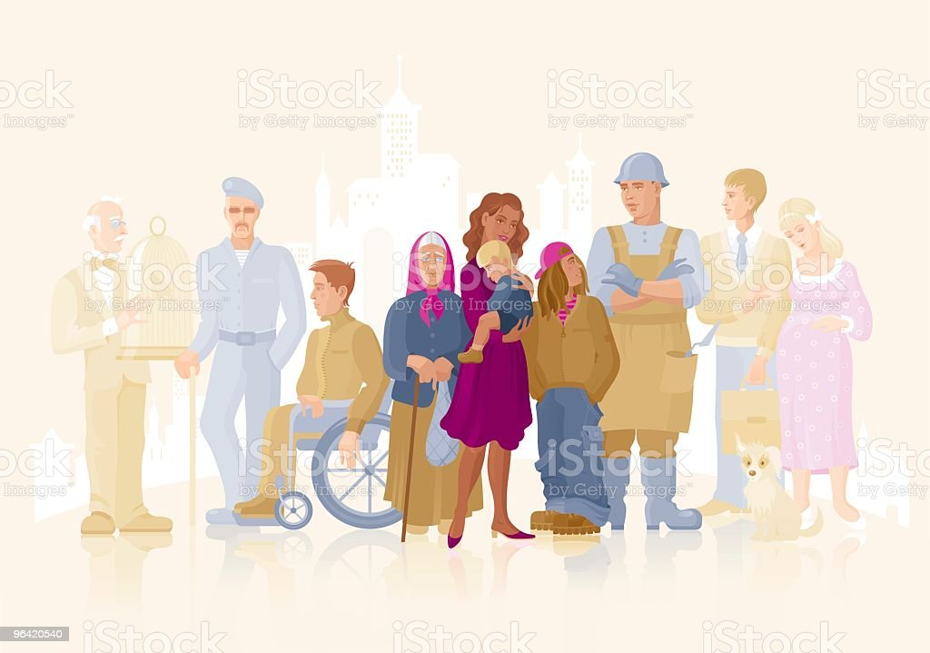 Various People in Society vector art illustration