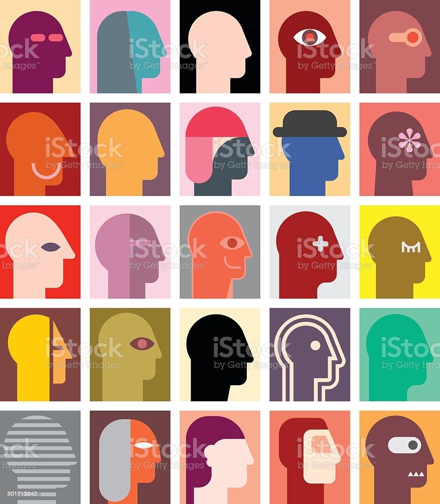 Various People Portraits vector art illustration