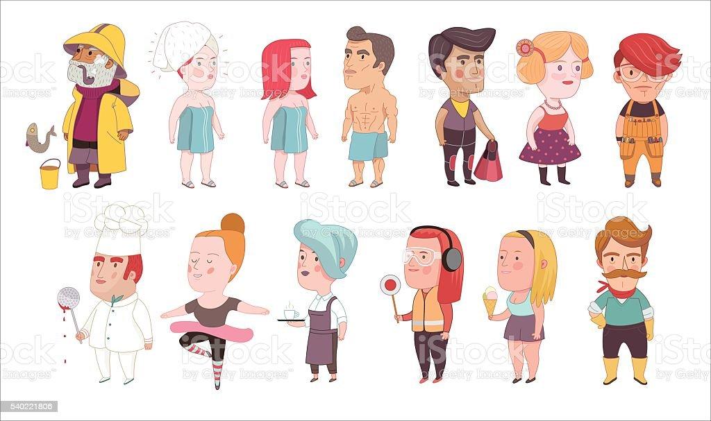 Various people set vector art illustration
