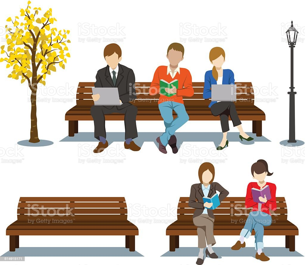 Various People Sitting on the Bench vector art illustration