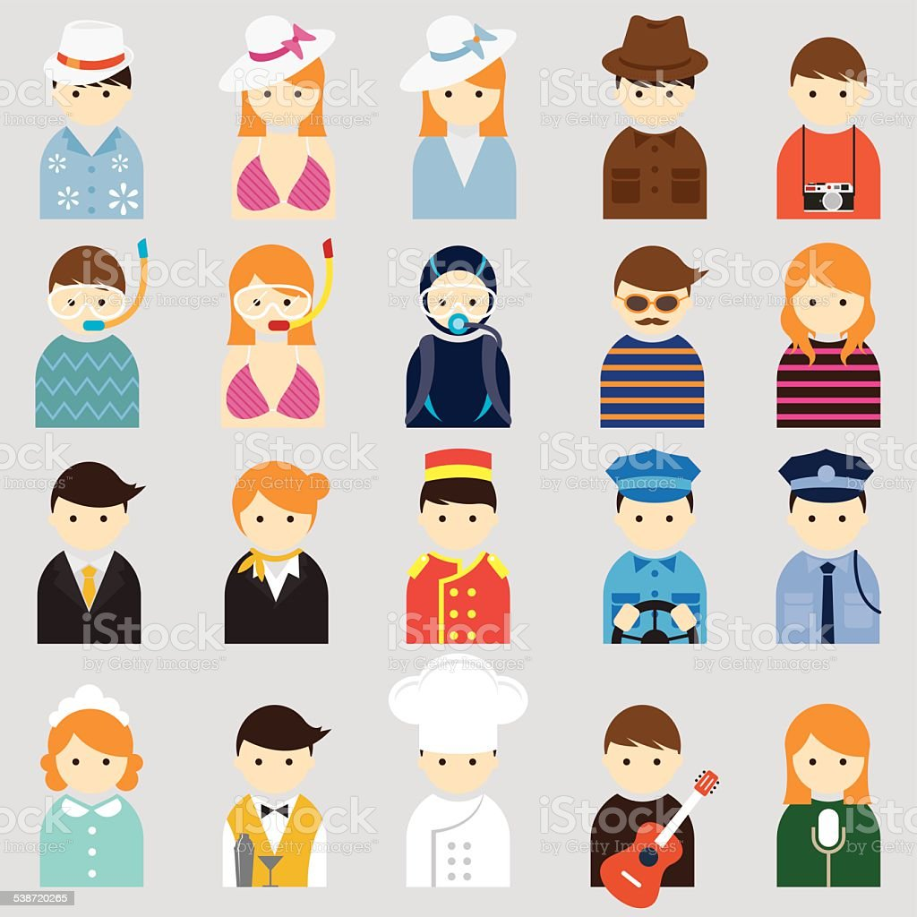 Various People Symbol Icons Hotel & Travel Set vector art illustration