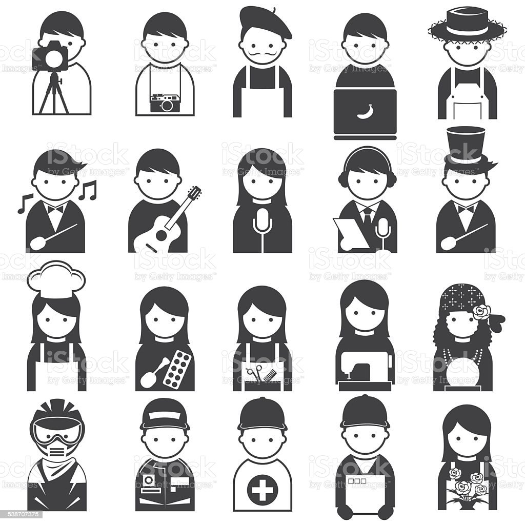 Various People Symbol Icons Occupation and Artisan Set vector art illustration