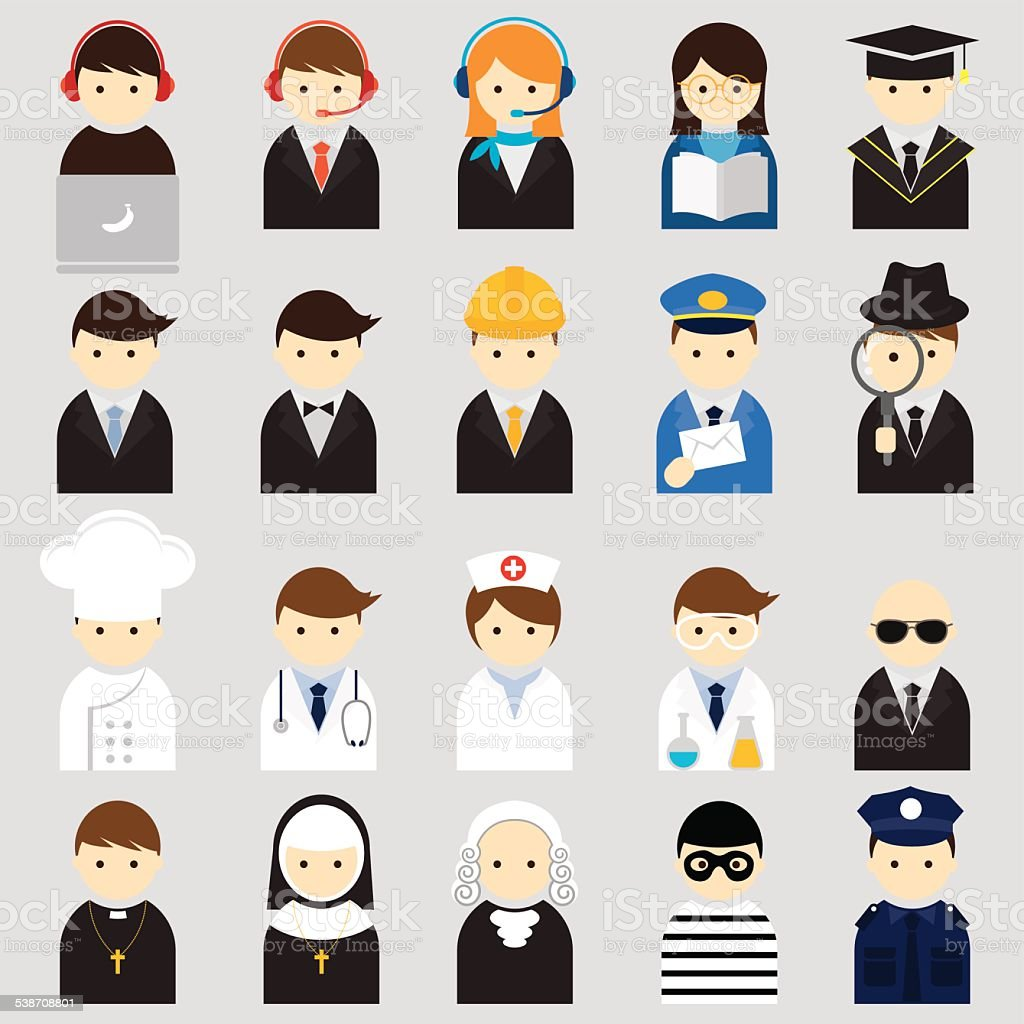 Various People Symbol Icons Occupation Set vector art illustration