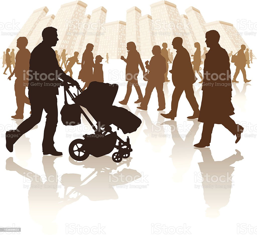 various people walking in a city environment royalty-free stock vector art