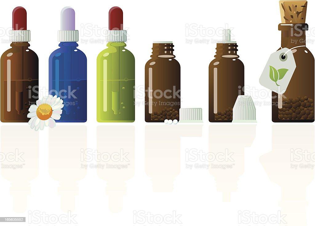 Various Pharmacy Glass Bottles Of Homeopathic Medicine vector art illustration