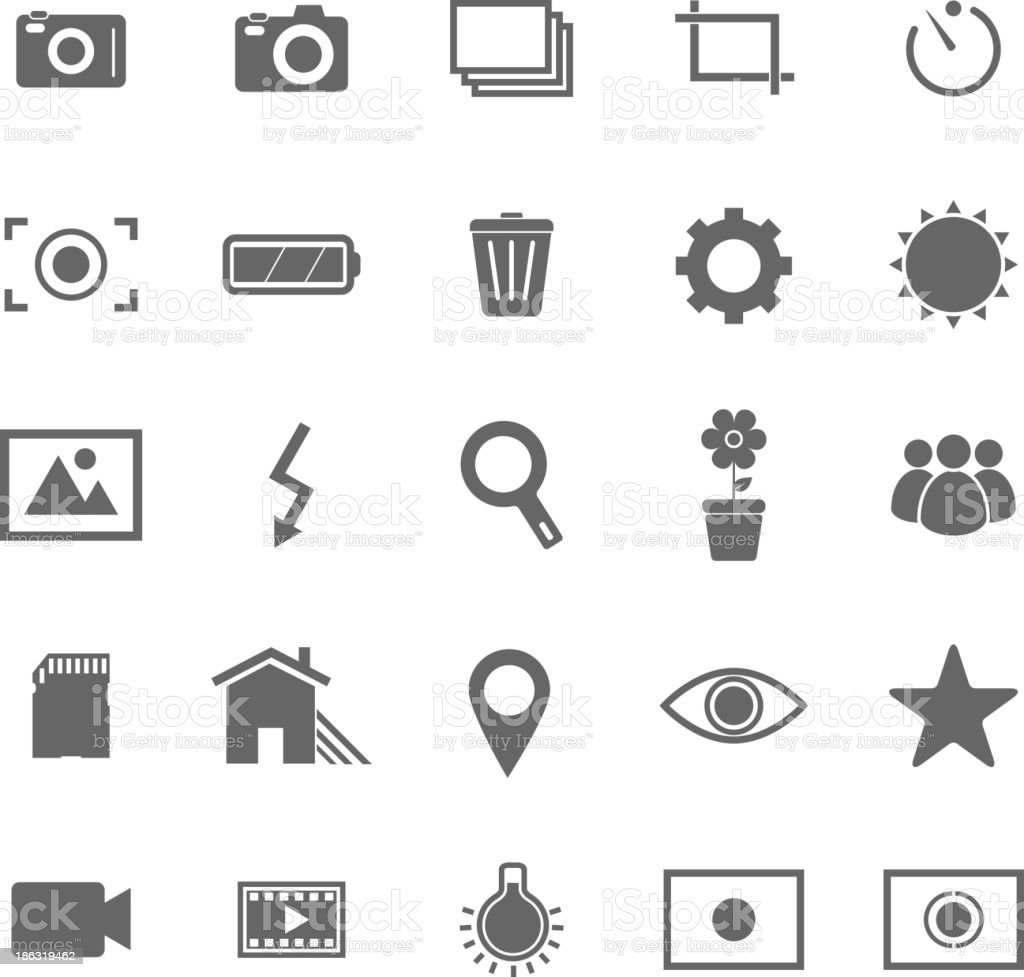 Various photography icons set against a white background royalty-free stock vector art