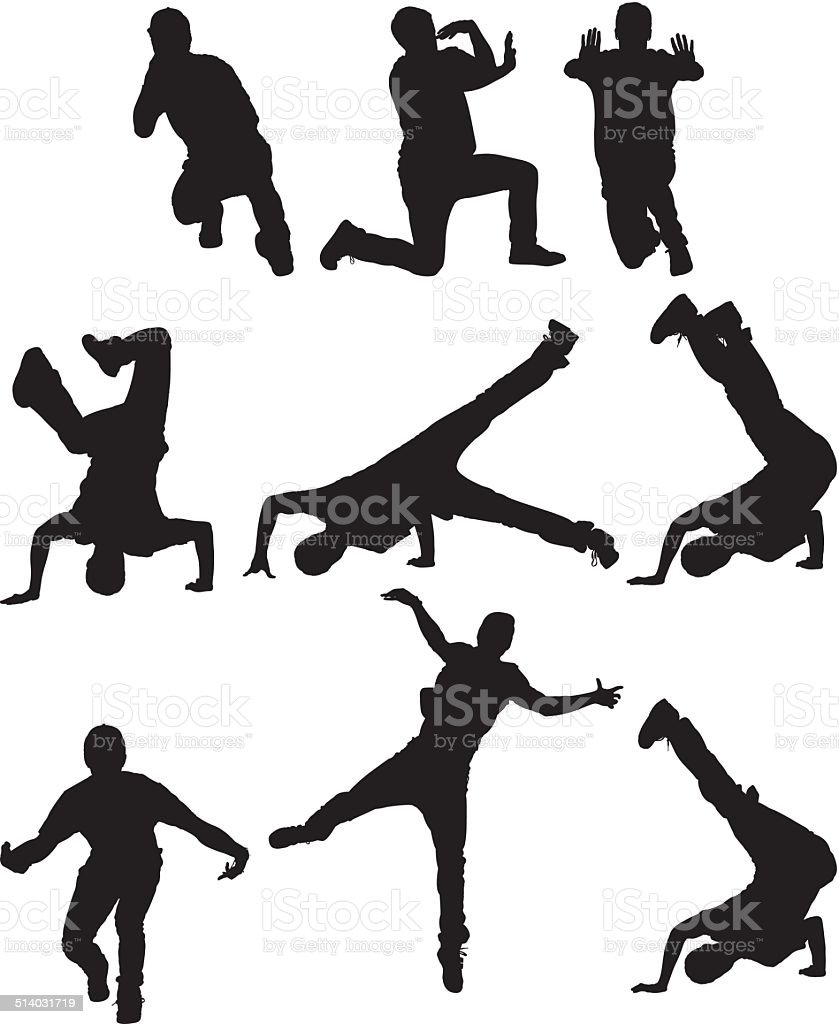 Various poses of a break dancer vector art illustration