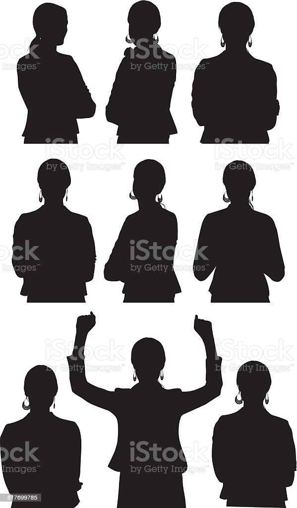 Various poses of businesswoman vector art illustration