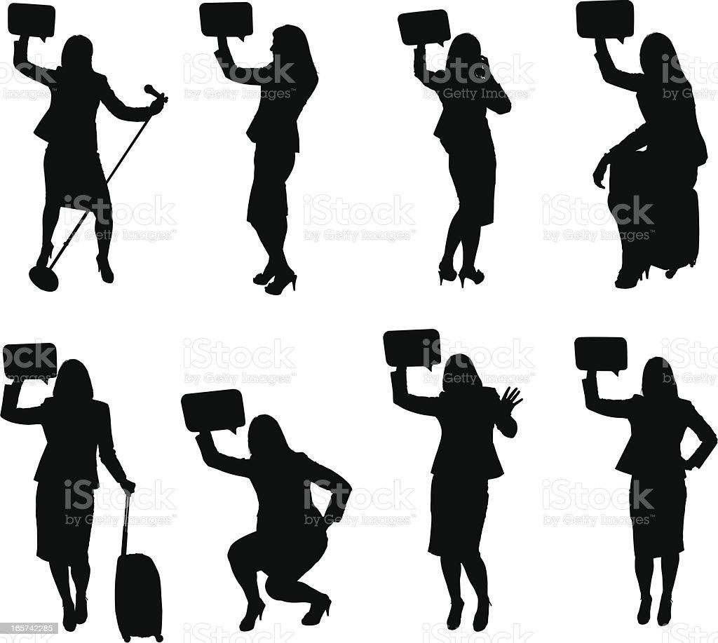 Various poses of businesswomen holding speech bubbles royalty-free stock vector art