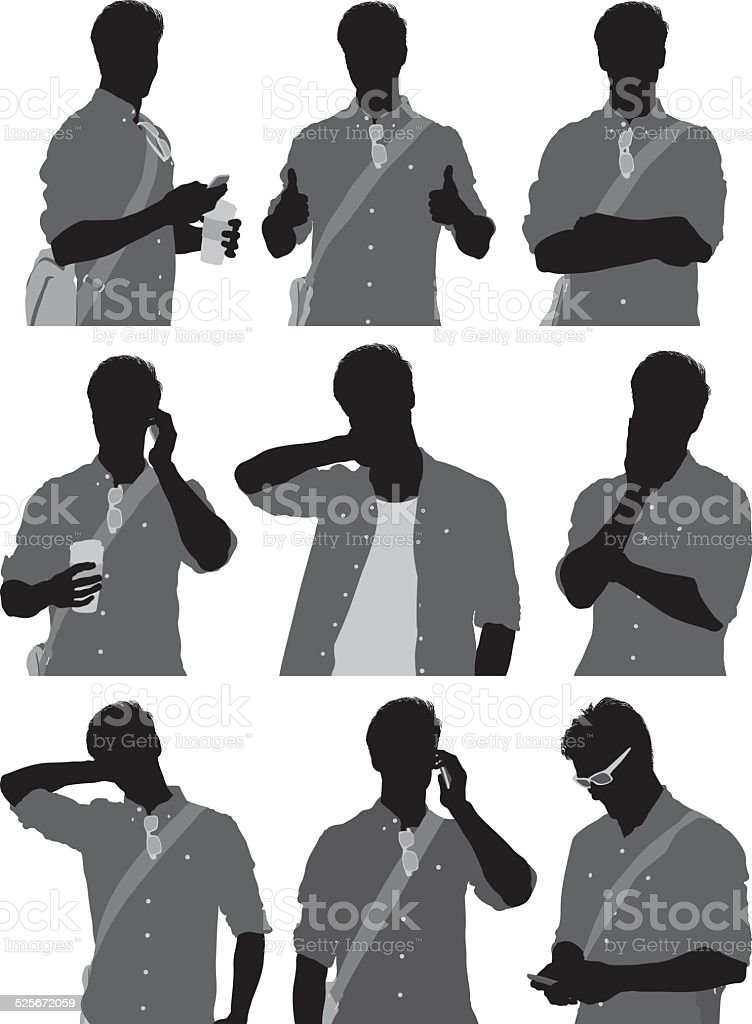 Various poses of casual man vector art illustration