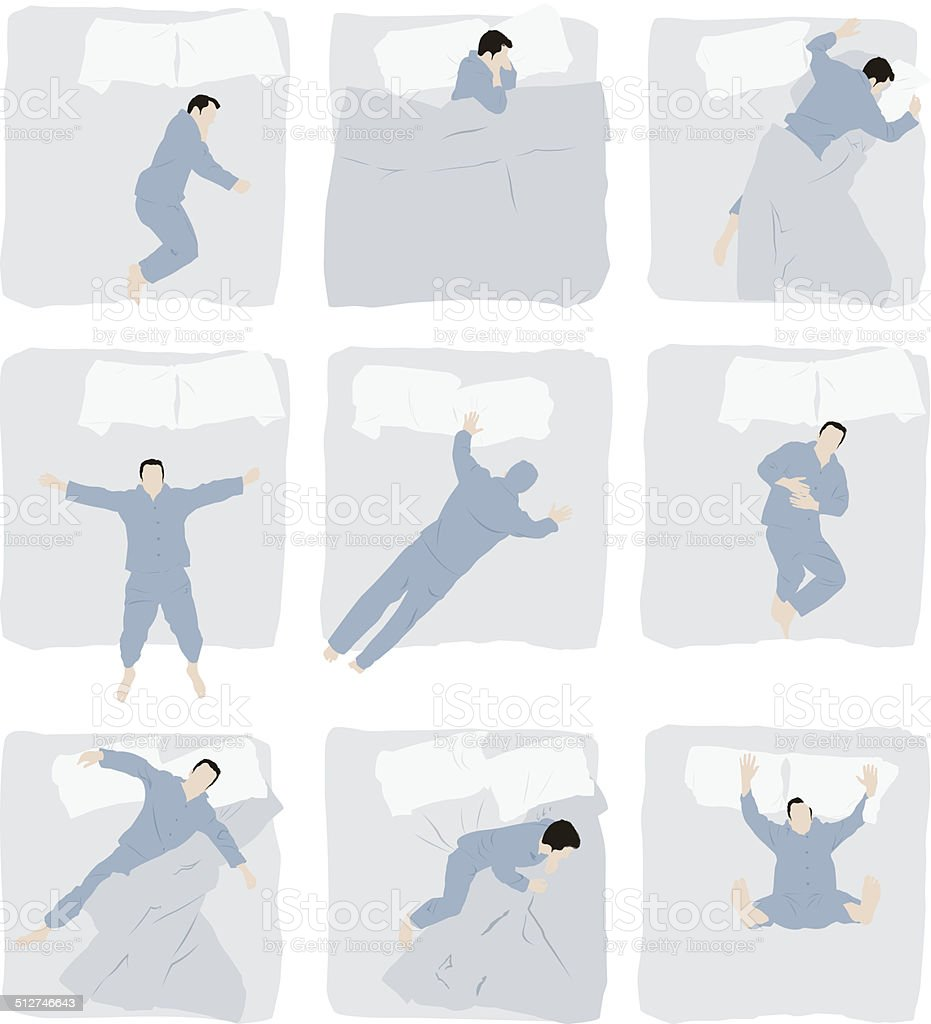 Various poses of man sleeping on bed vector art illustration