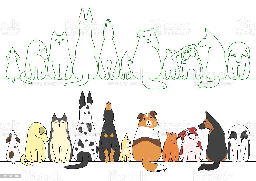 various posing dogs in a row vector art illustration