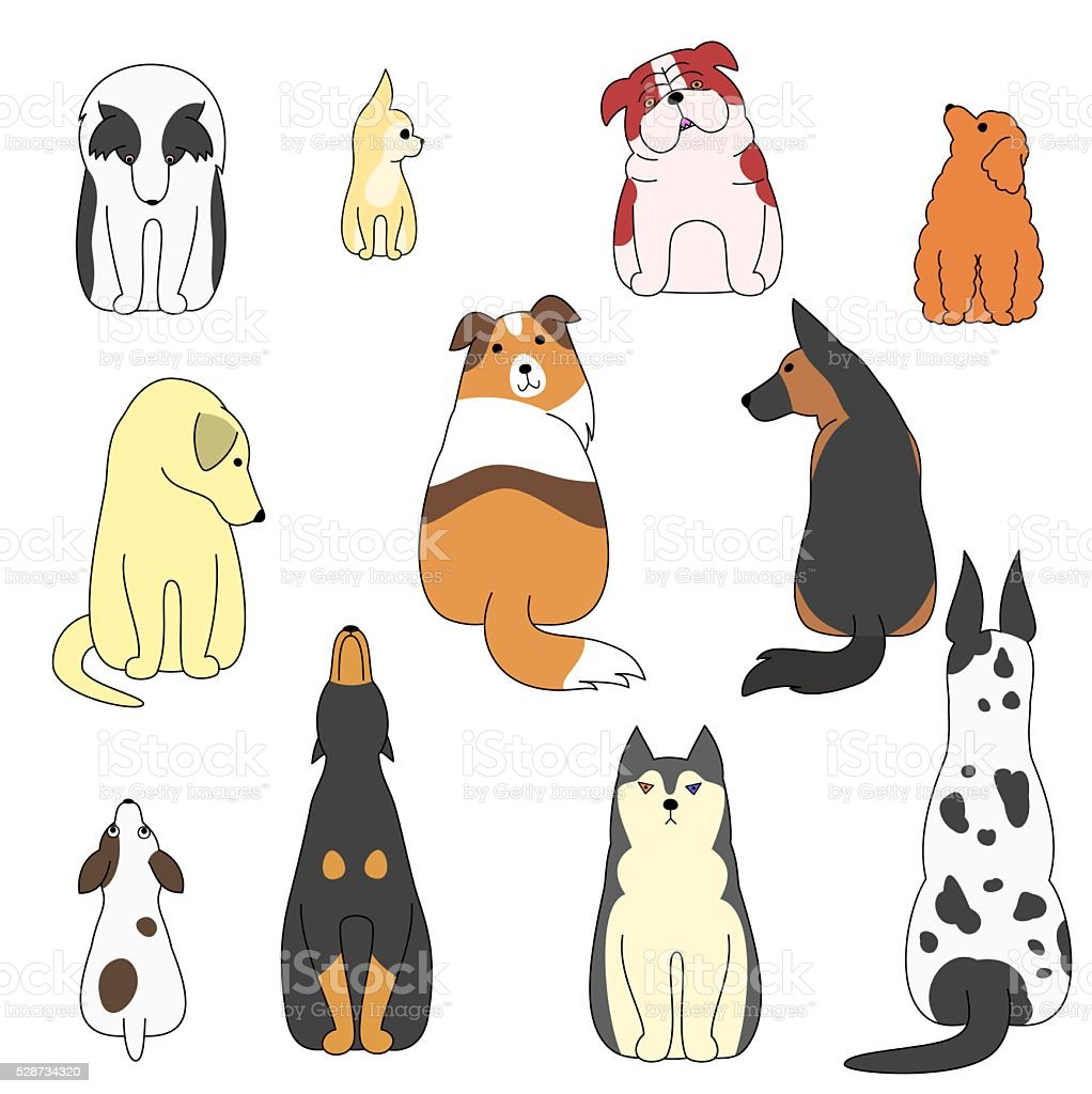 various posing dogs set vector art illustration