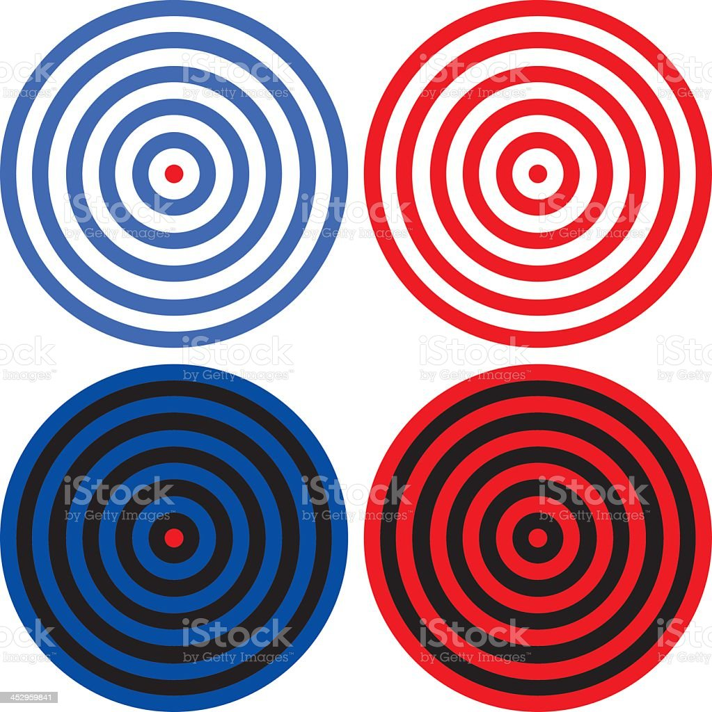 Various red and blue target icons isolated on white vector art illustration