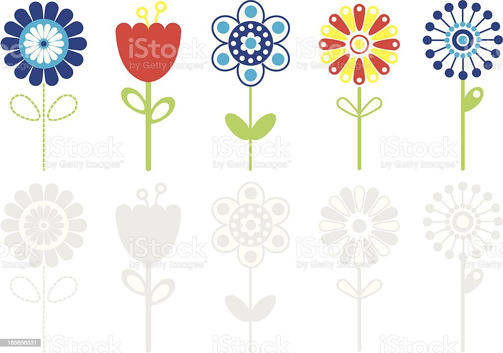 Various Retro Colored Flower Icons. royalty-free stock vector art