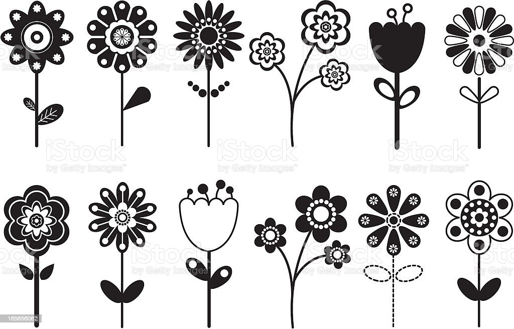 Various Retro Flower Icons. royalty-free stock vector art