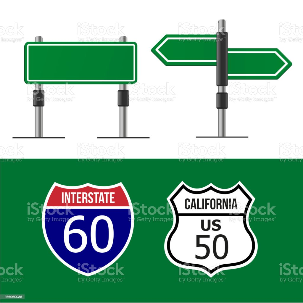 Various road signs in flat vector template royalty-free stock vector art