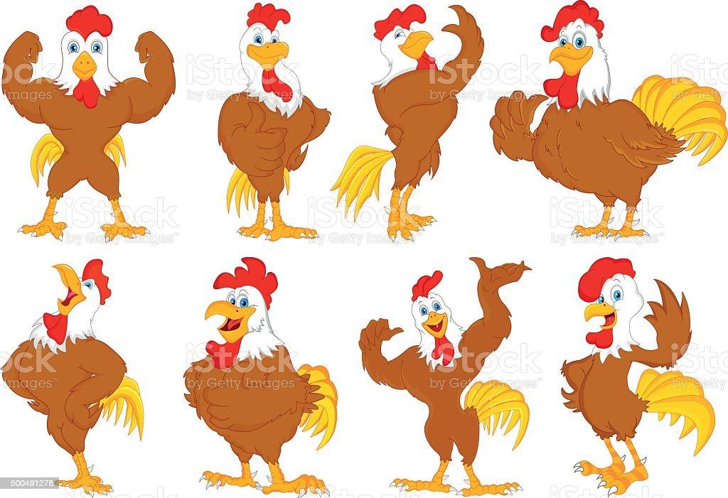 various rooster cartoon vector art illustration