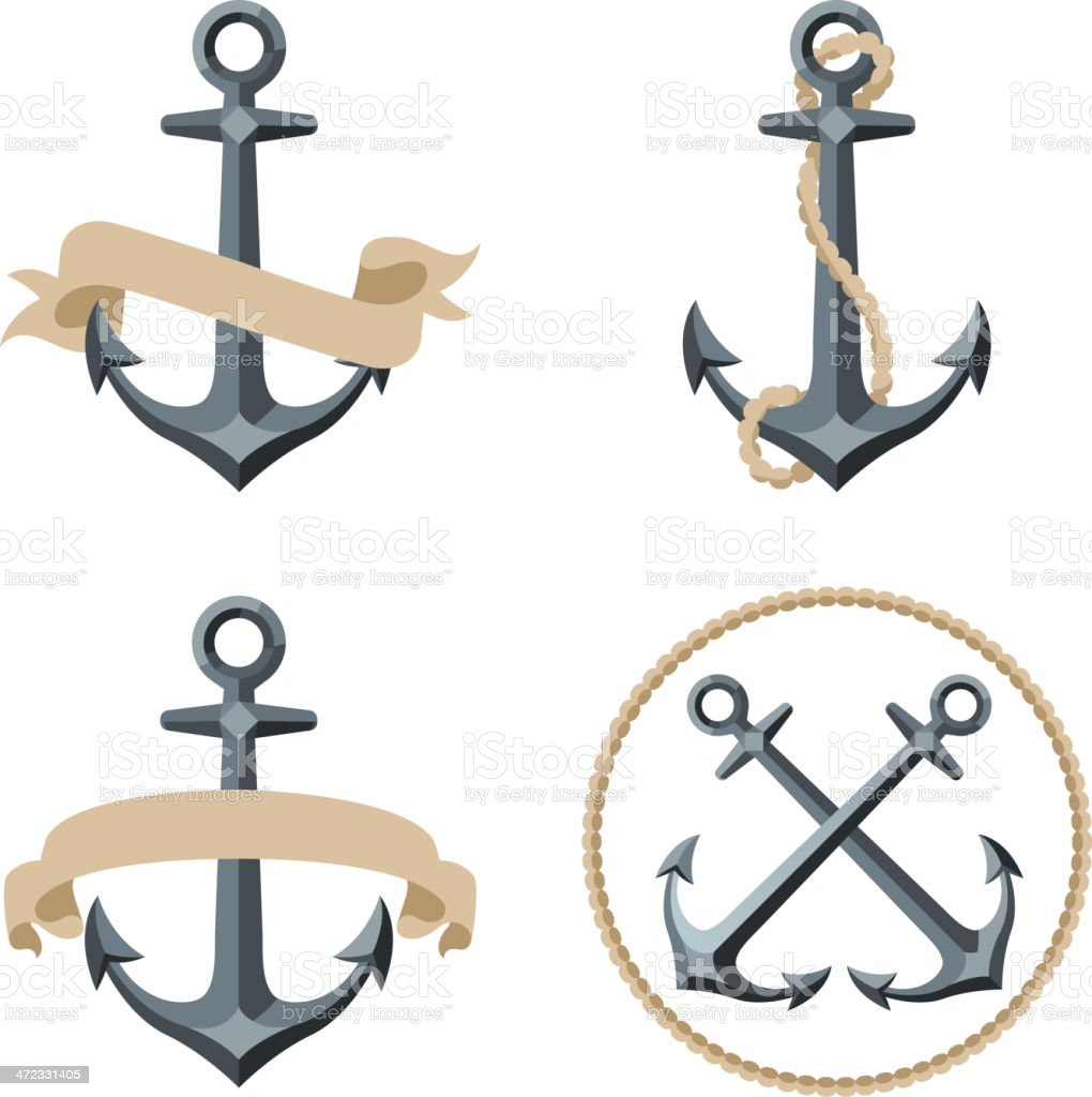 Various sailor anchor emblems with banners or ropes royalty-free stock vector art