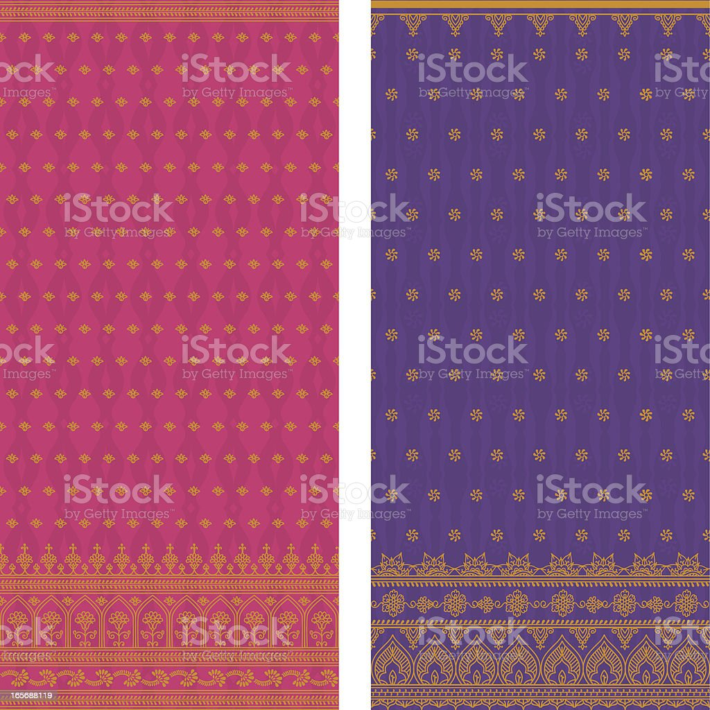 Various sample of silk saris in pink and violet royalty-free stock vector art