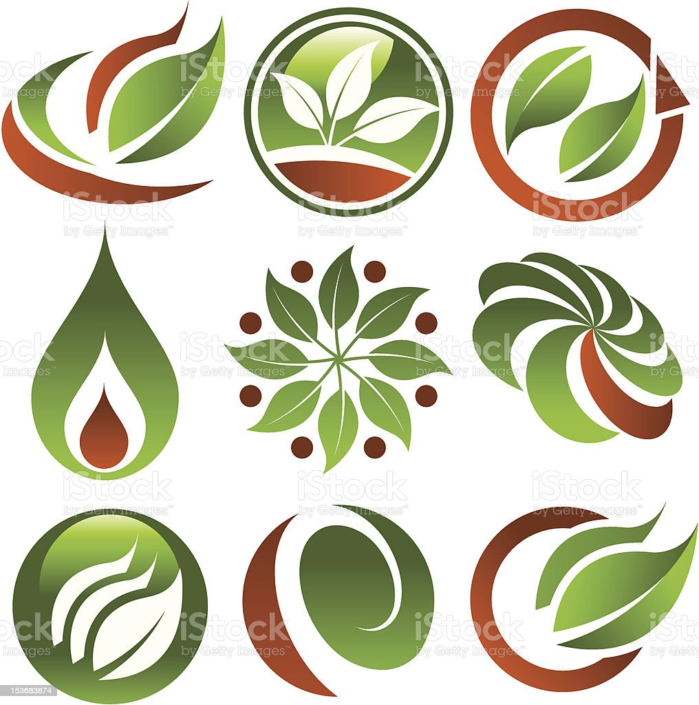 Various samples of green eco icons  royalty-free stock vector art