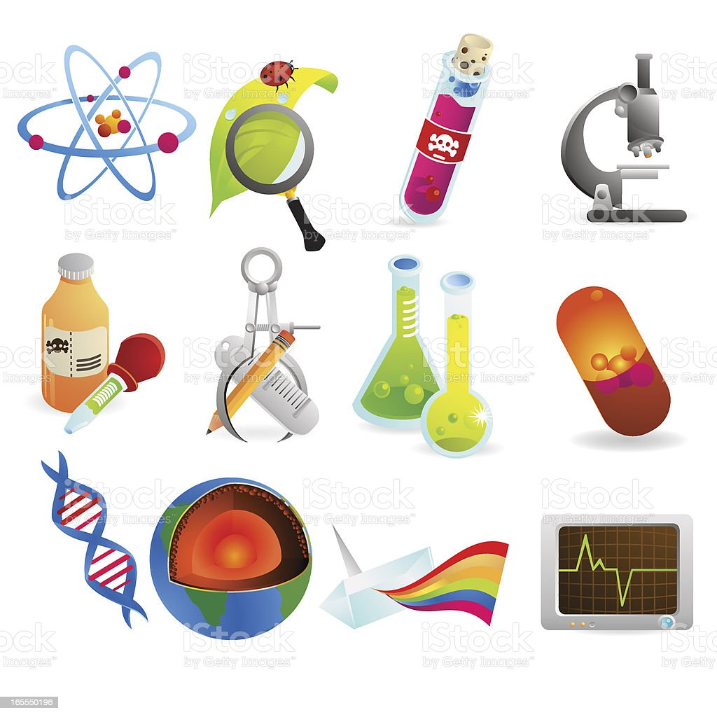 Various science and education icons royalty-free stock vector art