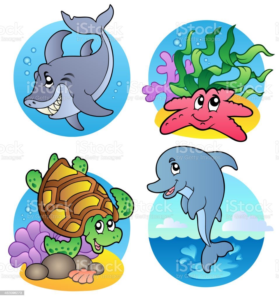 Various sea animals and fishes royalty-free stock vector art