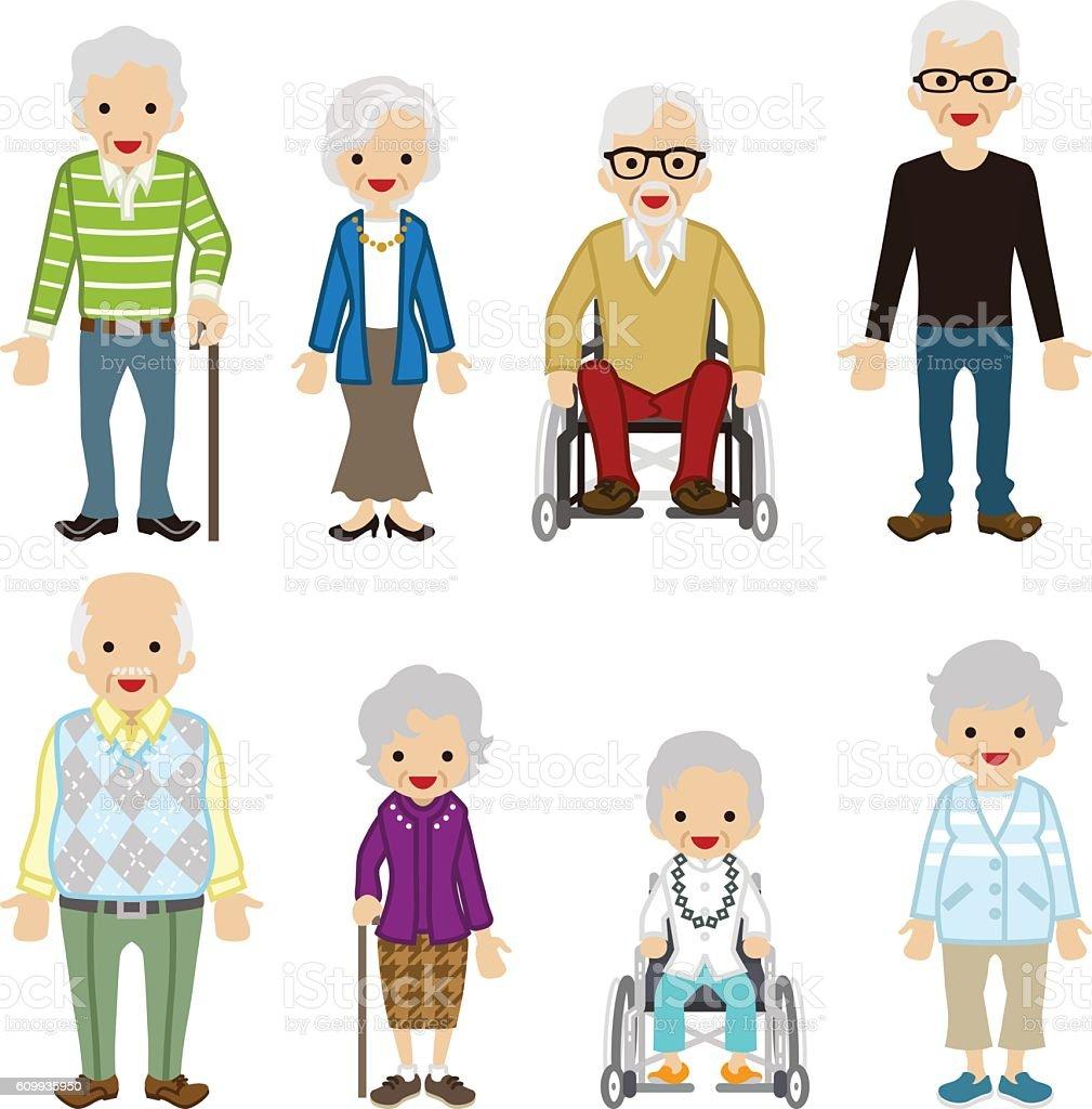 Various Senior Adult set. vector art illustration