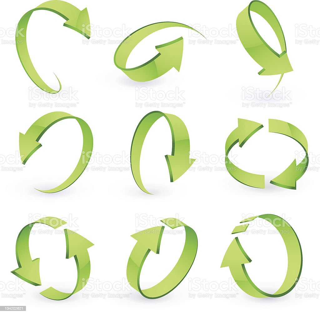 Various sets of green arrows on white background vector art illustration
