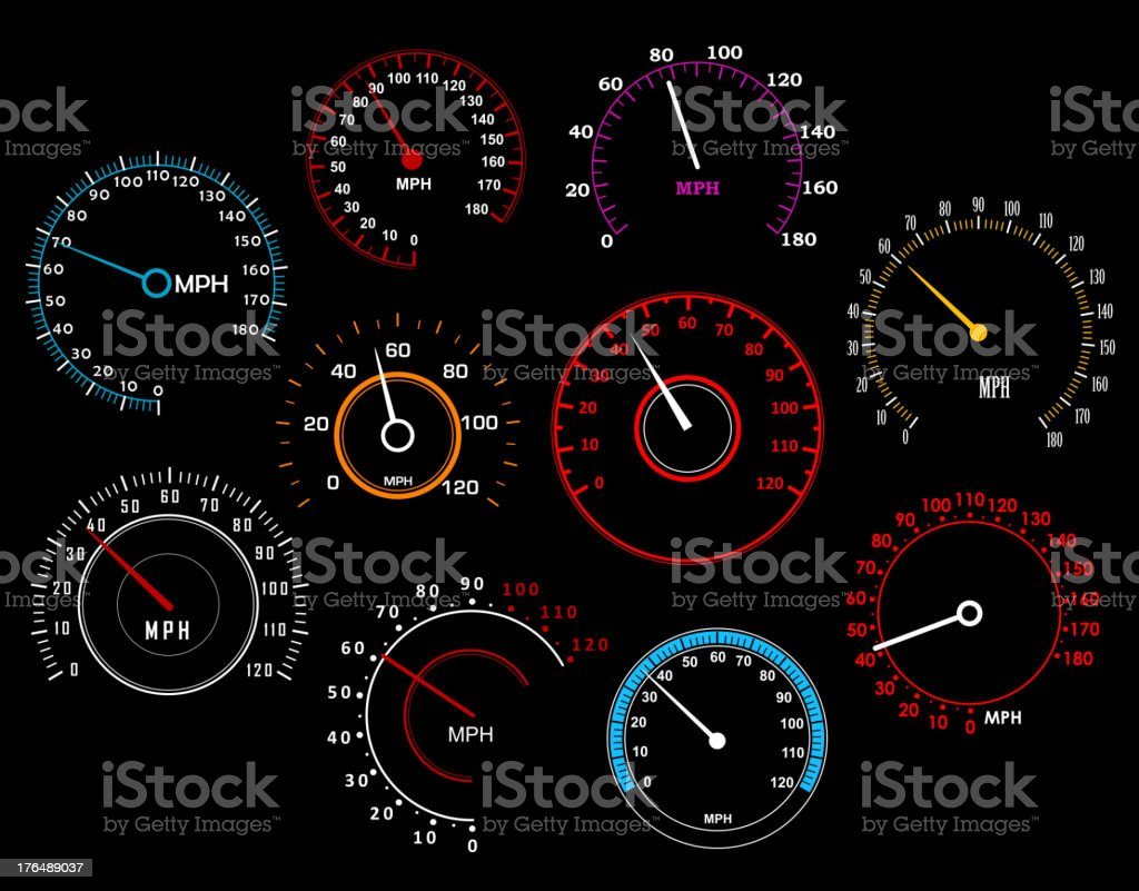 Various sets of speedometers in different sizes and colors vector art illustration