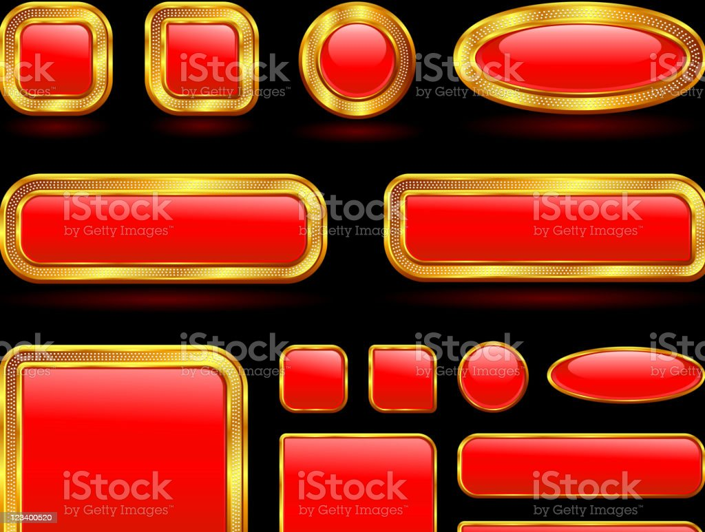 Various shaped gold bordered red buttons royalty-free stock vector art