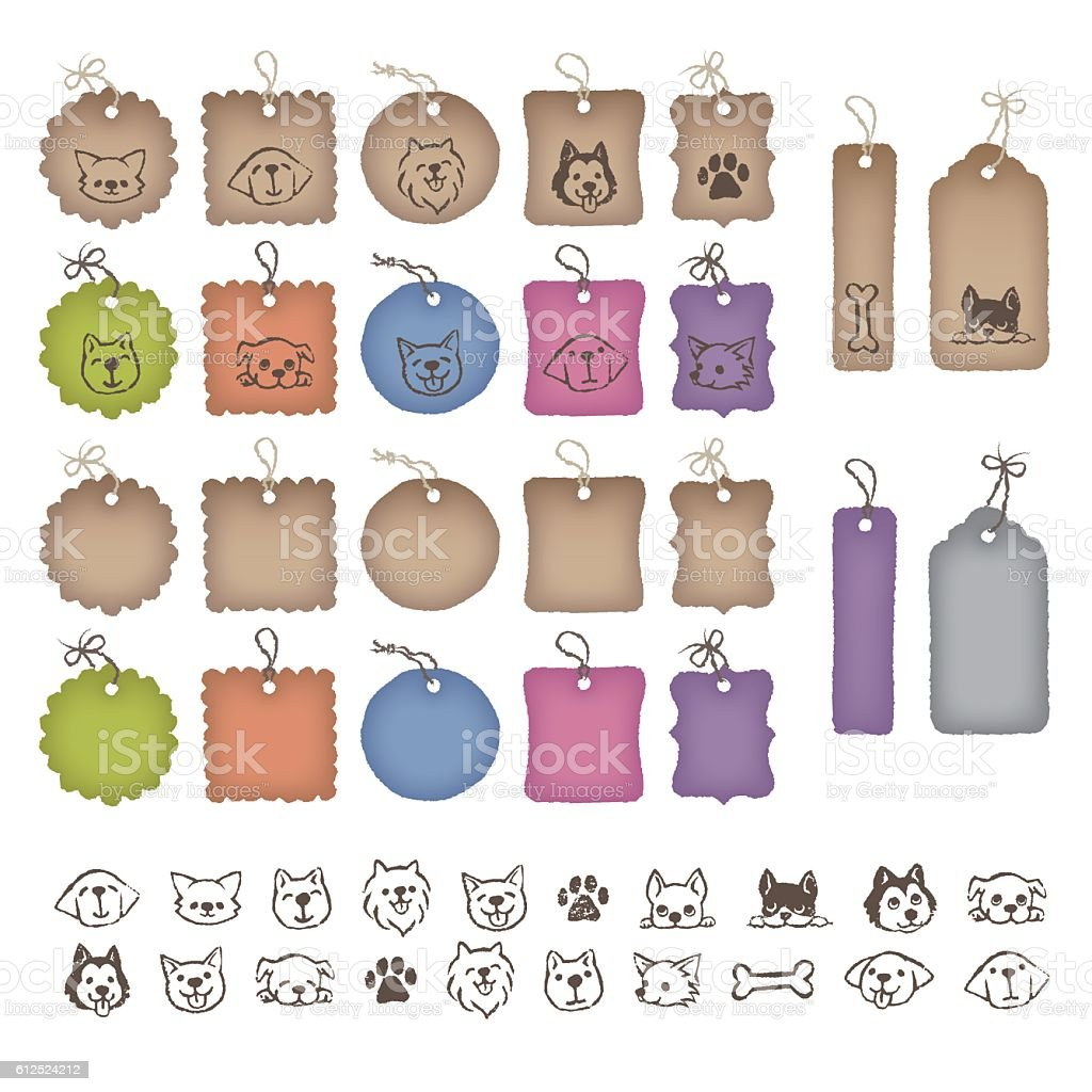 Various shaped price tags and dog illustrations vector art illustration