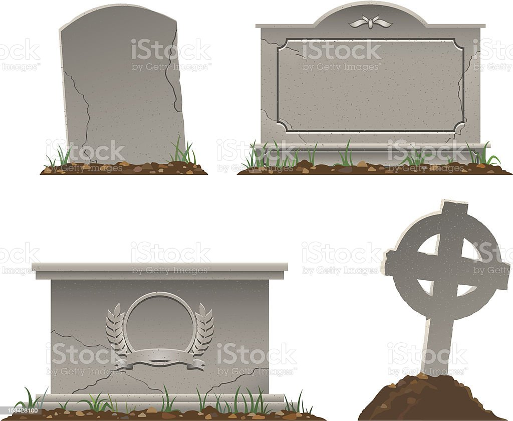 Various shapes and sizes of tombstones royalty-free stock vector art