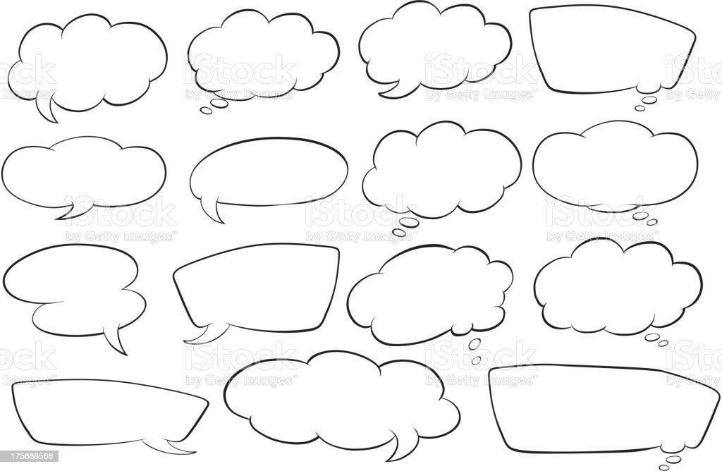 Various shapes of speech bubbles royalty-free stock vector art