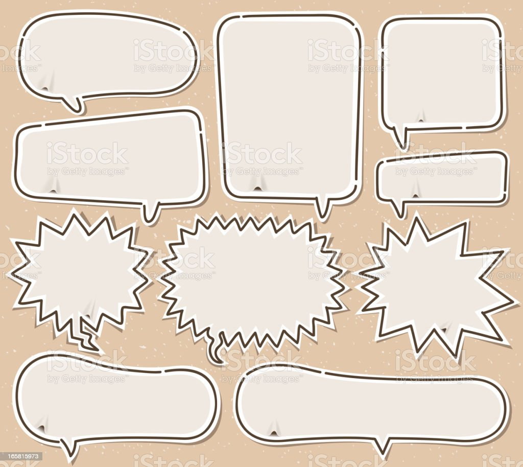 Various shapes of white speech bubbles vector art illustration