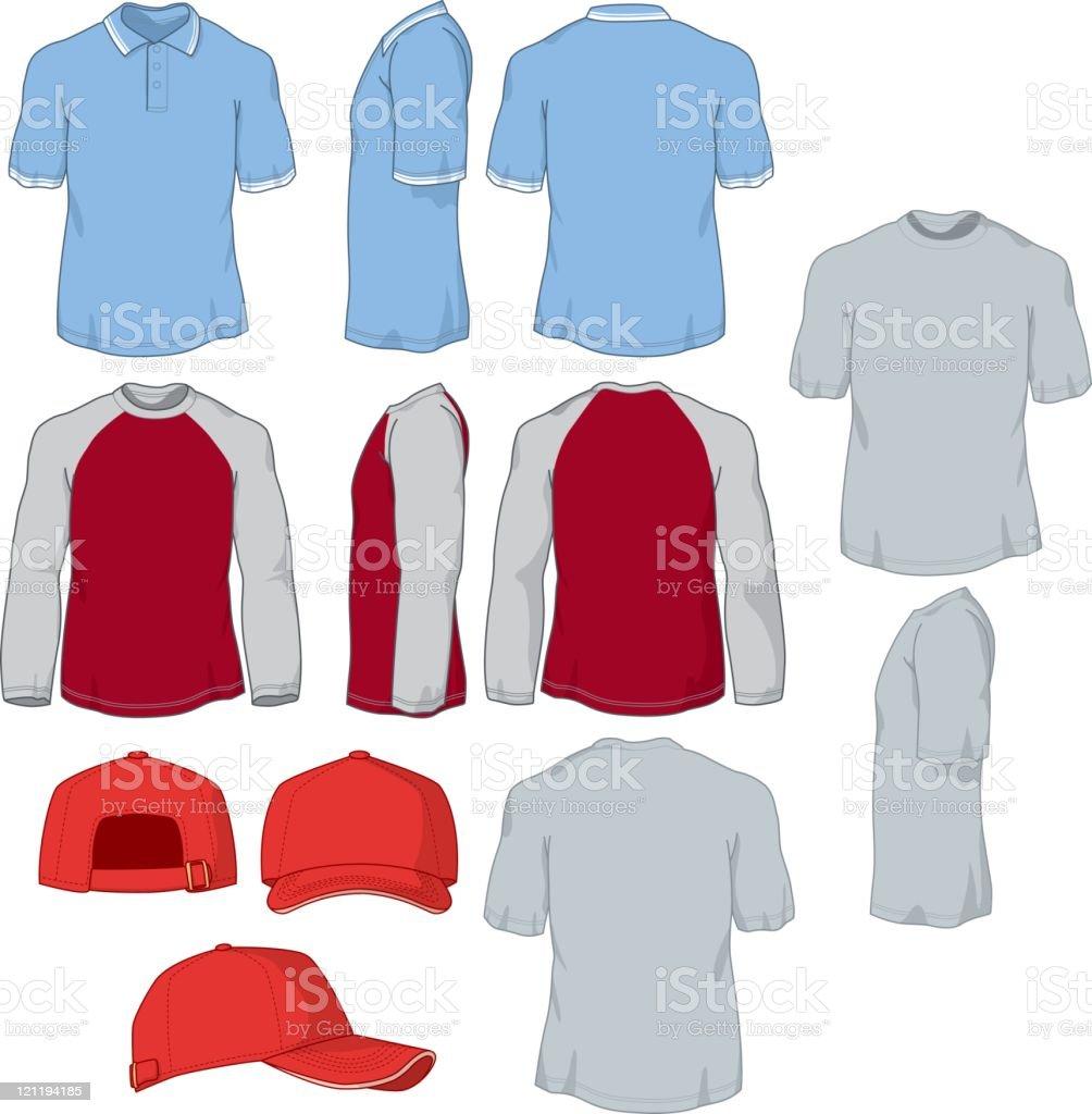 Various Shirts and Baseball Cap vector art illustration