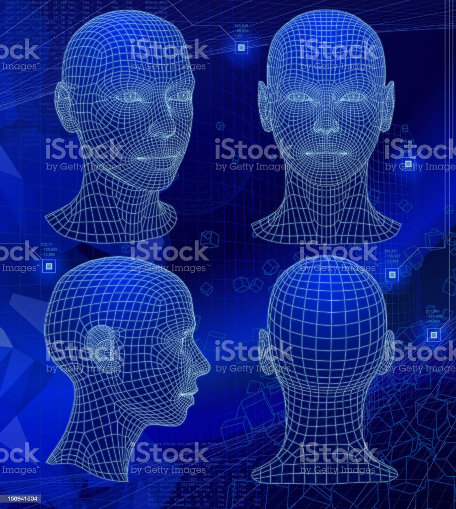 Various sides of a 3D head on abstract blue background vector art illustration