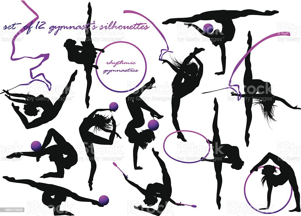 Various silhouette of a gymnasts  vector art illustration