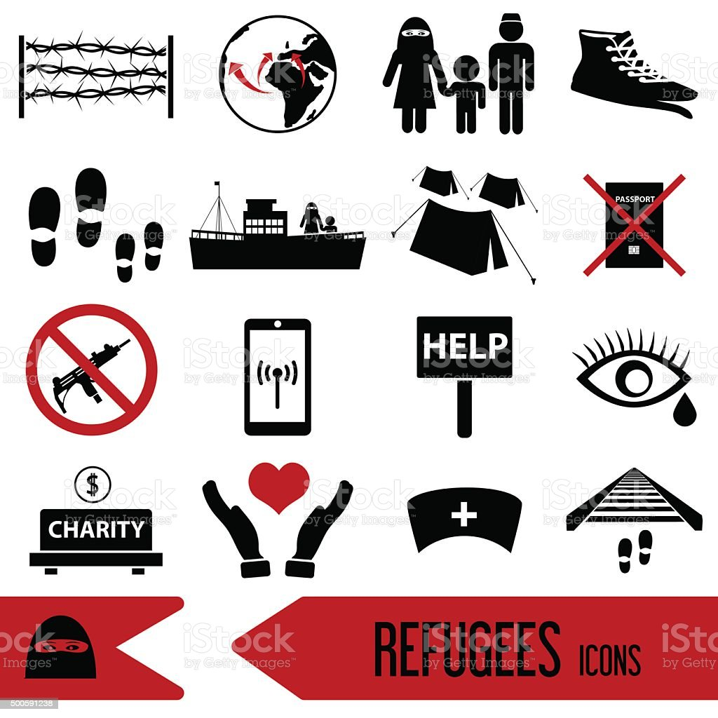 various simple refugees theme icons set eps10 vector art illustration