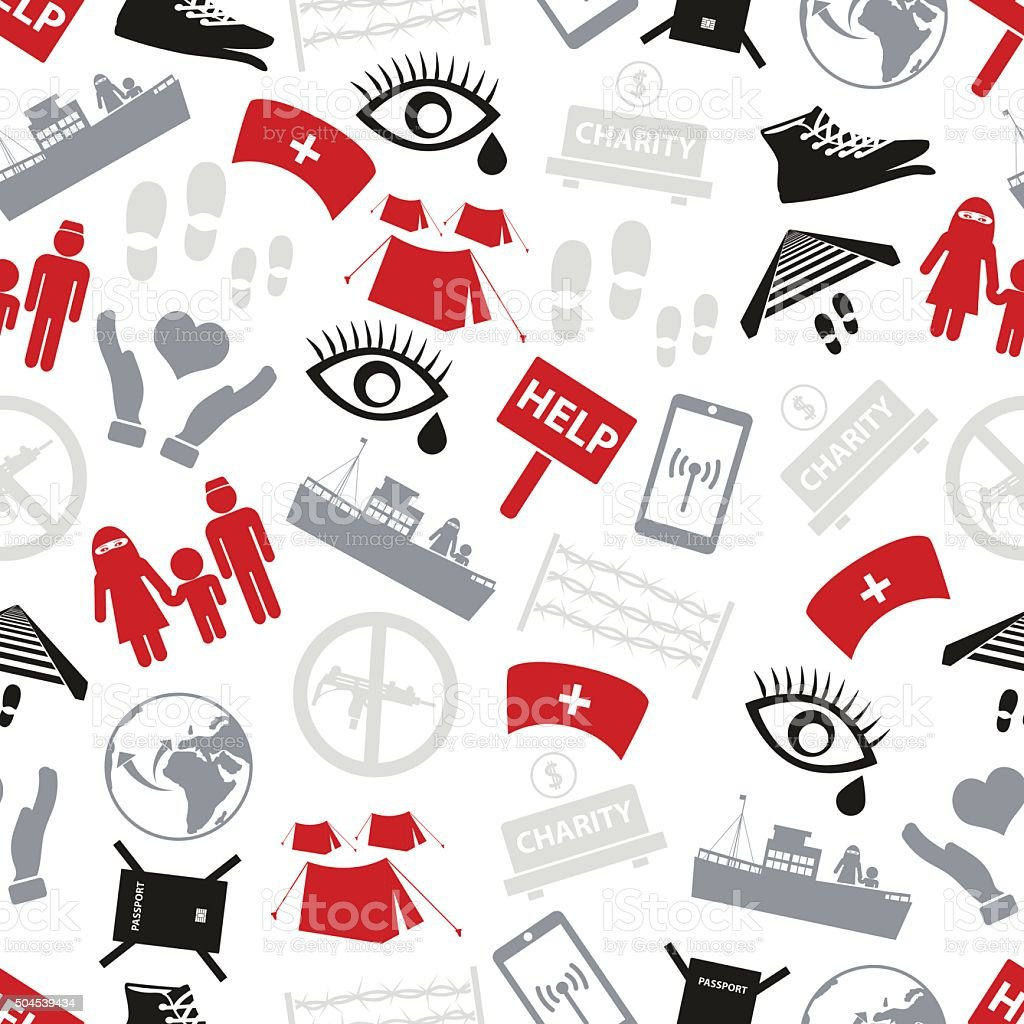 various simple refugees theme icons set seamless pattern eps10 vector art illustration